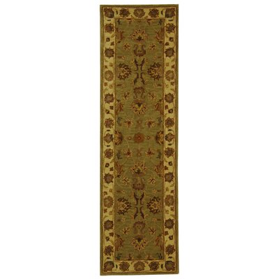 Balthrop Green/Gold Floral Area Rug Rug Size: Runner 23 x 16