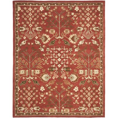 Balthrop Red Floral Area Rug Rug Size: 6 x 9