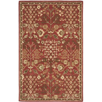Balthrop Red Floral Area Rug Rug Size: 5' x 8'
