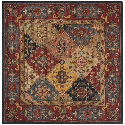 Balthrop Red Area Rug Rug Size: Square 10