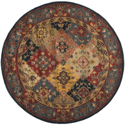 Balthrop Red Area Rug Rug Size: Round 8'