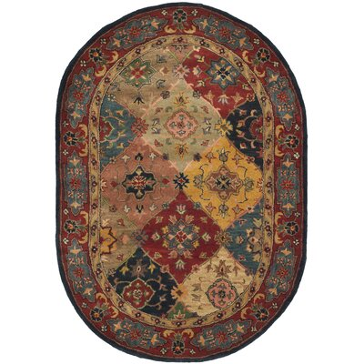 Balthrop Red Area Rug Rug Size: Oval 46 x 66