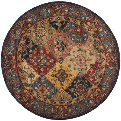 Balthrop Red Area Rug Rug Size: Round 6
