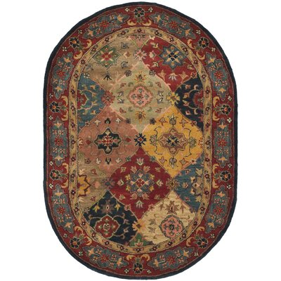 Balthrop Red Area Rug Rug Size: Oval 76 x 96