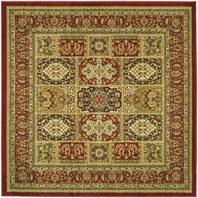 Barton Red Area Rug Rug Size: Square 6'