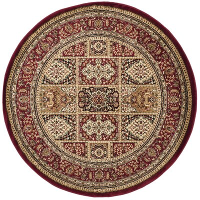 Barton Red Area Rug Rug Size: Round 8