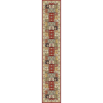 Barton Red/Ivory Area Rug Rug Size: Runner 23 x 12