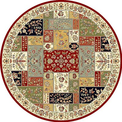 Barton Red/Ivory Area Rug Rug Size: Round 5'