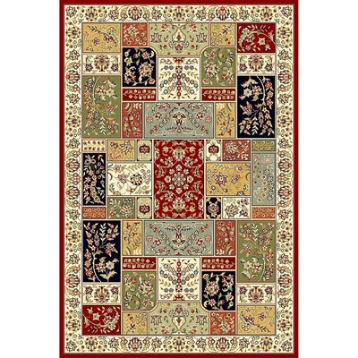 Barton Red/Ivory Area Rug Rug Size: 53 x 76