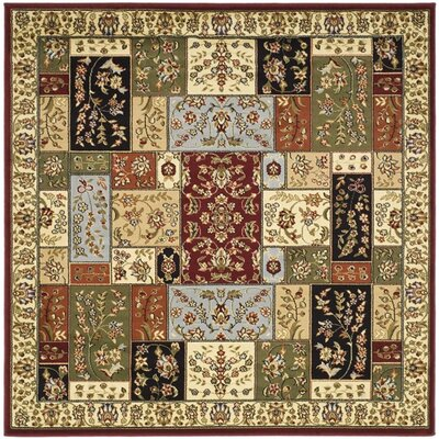 Barton Red/Ivory Area Rug Rug Size: Square 6