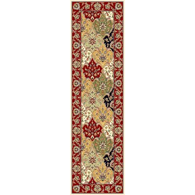 Barton Red/Ivory Area Rug Rug Size: Runner 2'3