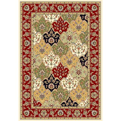 Barton Red/Ivory Area Rug Rug Size: Rectangle 53 x 76