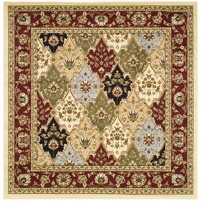Barton Red/Ivory Area Rug Rug Size: Square 6'