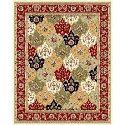 Barton Red/Ivory Area Rug Rug Size: Rectangle 9 x 12