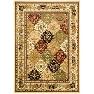 Barton Green/Ivory Area Rug Rug Size: 5'3