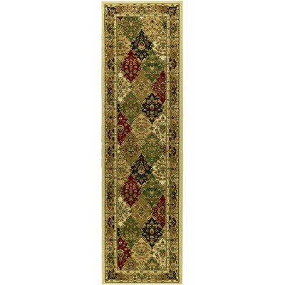 Barton Green/Ivory Area Rug Rug Size: Runner 2'3