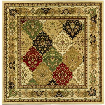 Barton Green/Ivory Area Rug Rug Size: Square 6'