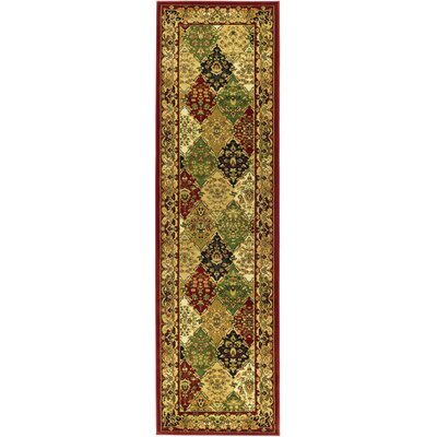 Barton Red/Ivory Area Rug Rug Size: Runner 23 x 16