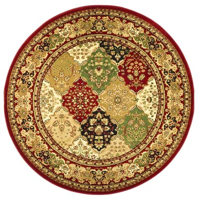 Barton Red/Ivory Area Rug Rug Size: Round 8