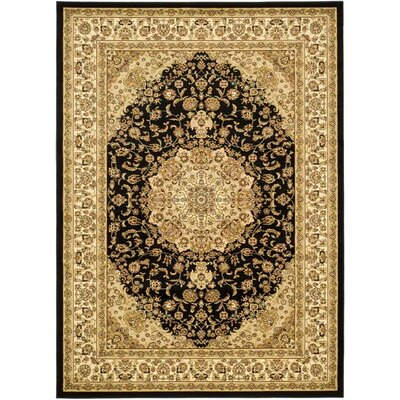 Barton Black/Ivory Area Rug Rug Size: Rectangle 79 x 109