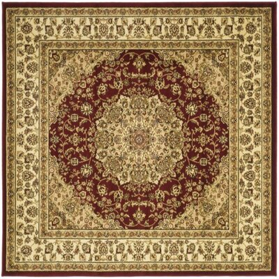 Barton Red/Ivory Area Rug Rug Size: Square 8