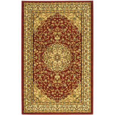 Barton Red/Ivory Area Rug Rug Size: Rectangle 33 x 53