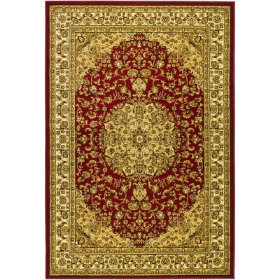 Barton Red/Ivory Area Rug Rug Size: Rectangle 4 x 6