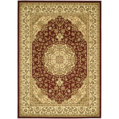 Barton Red/Ivory Area Rug Rug Size: 79 x 109