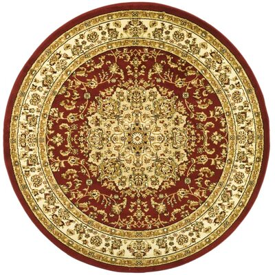 Barton Red/Ivory Area Rug Rug Size: Round 5'3