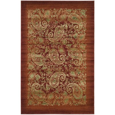 Barton Red Area Rug Rug Size: 33 x 53