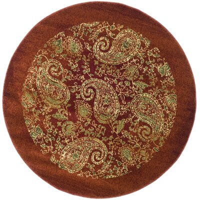 Barton Red Area Rug Rug Size: Round 53