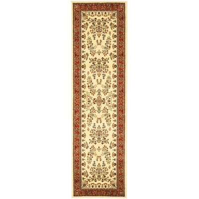 Barton Rust/Ivory Area Rug Rug Size: Runner 23 x 14