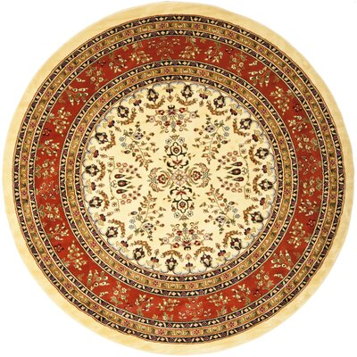 Barton Rust/Ivory Area Rug Rug Size: Round 8