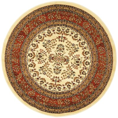 Barton Rust/Ivory Area Rug Rug Size: Round 53