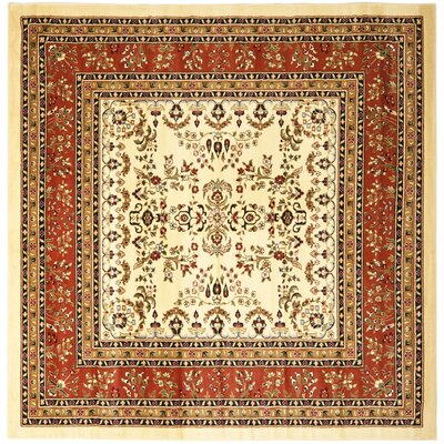 Barton Rust/Ivory Area Rug Rug Size: Square 8'