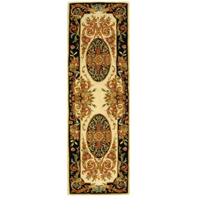 Chaplain Ivory/Gold Area Rug Rug Size: Runner 26 x 12