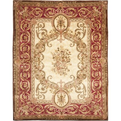 Loren Gold/Red Area Rug Rug Size: 10 x 14