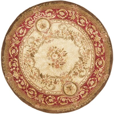 Loren Gold/Red Area Rug Rug Size: Round 8