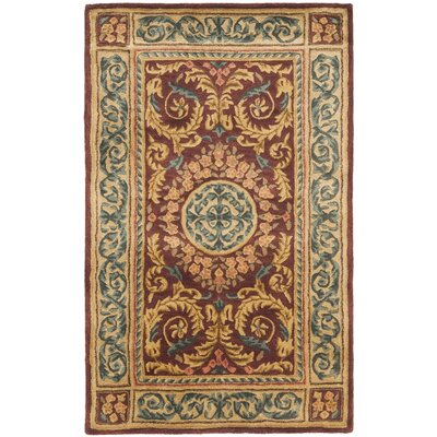 Loren Burgundy/Gold Area Rug Rug Size: Rectangle 4 x 6