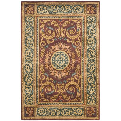 Loren Burgundy/Gold Area Rug Rug Size: Rectangle 6 x 9