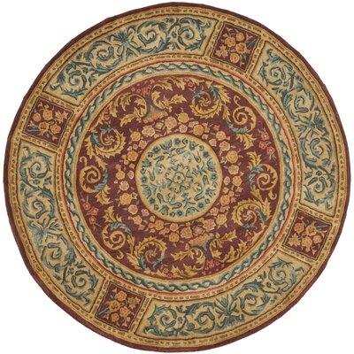 Loren Burgundy/Gold Area Rug Rug Size: Round 6'
