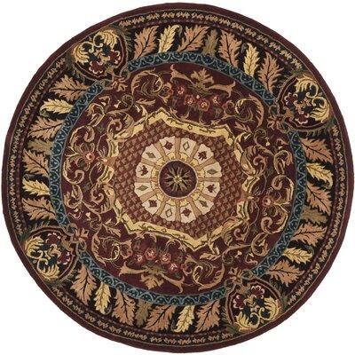 Loren Red/Burgundy Rug Rug Size: Round 6