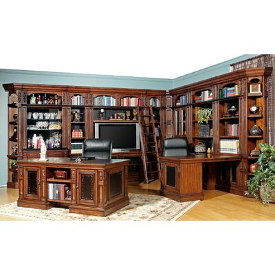 Leiva Corner Library Center with Executive Desk