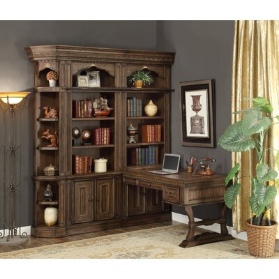 Queensbury 4 Piece Peninsula Desk and Bookcase