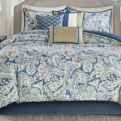 Arterbury 7 Piece Comforter Set Size: King, Color: Blue