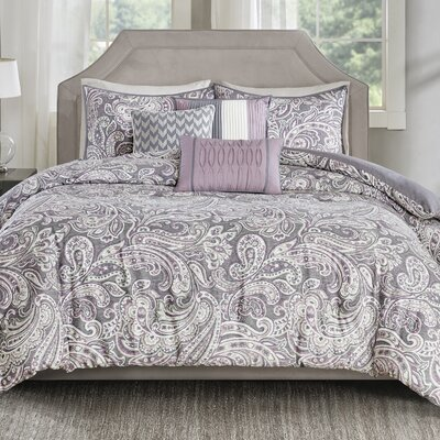 Arterbury 6 Piece Duvet Set Size: King/California King, Color: Purple