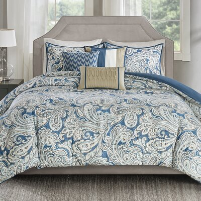 Arterbury 6 Piece Duvet Set Size: King/California King, Color: Blue