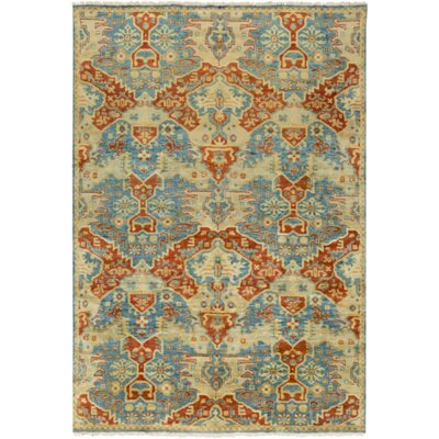 Barfield Hand-Knotted Burnt Orange Area Rug Rug size: 39 x 59