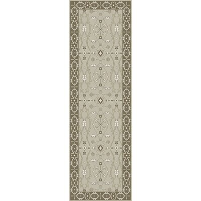 Fulham Hand-Tufted Sea Foam/Tan Area Rug Rug size: Runner 26 x 8