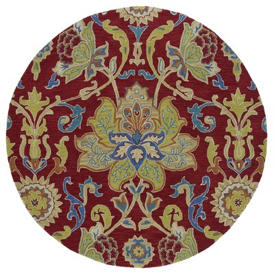 Barkell Red/Green Area Rug Rug Size: Round 79